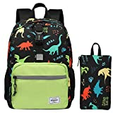 Preschool Backpack, Bagseri Kids Backpacks for Boys, Toddler School Backpack, with Chest Strap and Detachable Front Strap, BPA Free, Perfect Size for School, Travel (Dinosaur Black)