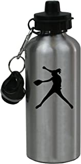 Personalized Custom Softball Pitcher Aluminum Silver Finish 20 Ounce Water Bottle Customizable