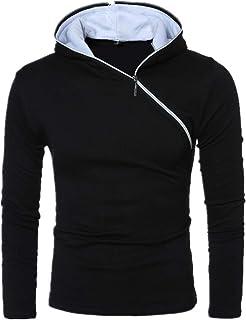 Felpa da Uomo Felpa con Cappuccio Sweatshirt Uomo Manica Lunga Patchwork Top Outwear Slim Fit Top con Cerniera Diagonale P...