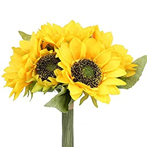 Flojery Silk Sunflower Bouquet Bride Holding Flowers Artificial Sunflowers for Wedding Party Home Decorations (1Pcs)