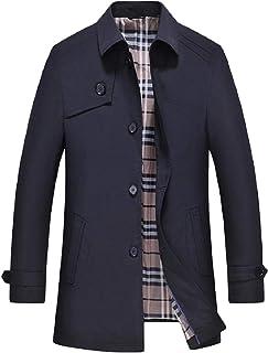 XINHEO Mens Pure Colour Business Lapel Button Leisure Mid Long Jacket Overcoat