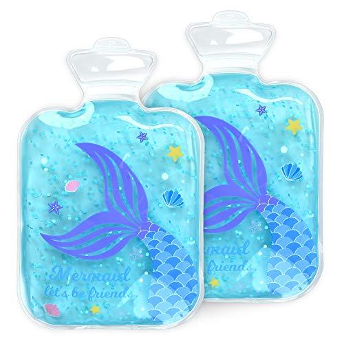 Navaris Set 2x compresa de gel para niños - Bolsitas reutilizables para aplicar calor frío - Apta para microondas y congelador - Diseño de sirena