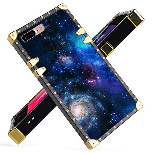 Fiyart iPhone 7 Plus, iPhone 8 Plus Case Luxury Blue Starry Sky Galaxy Space Square Soft TPU Wrapped Edges and Hard PC Back Stylish Classic Retro Case 5.5 inch