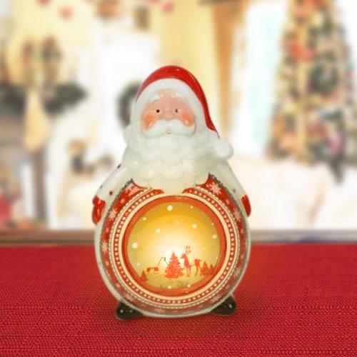 BAKAJI Lanterna in Ceramica Babbo Natale con Candela Elettrica 22cm Addobbo e Decorazioni Natalizie