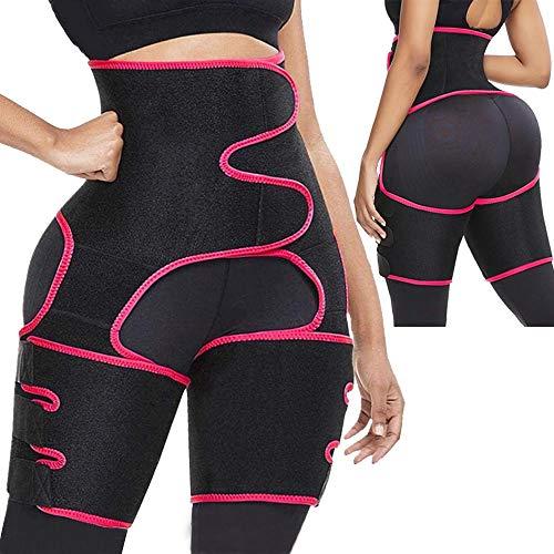 Oscaurt Waist Trainer for Women Weight Loss Everyday Wear, 3 in 1 Waist Trimmer and Butt Lifter, Adjustable Waist and Thign Trainer Trimmer Body Shaper for Women (Rose and Black, XXL-3XL)