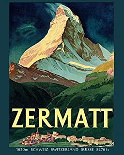 Zermatt Switzerland Suisse Europe Travel Tourism Vintage Poster Repro 12
