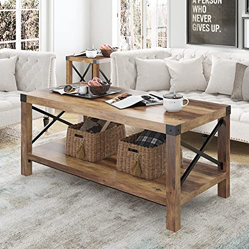 Hoomic Coffee Table with Storage Shelf, Farmhouse Accent Cocktail Table, Industrial Wood Tea Table,...