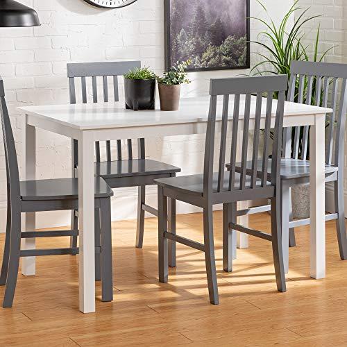 Eden Bridge Designs Esstisch mit 4 Stühle, Holz, Weiß/Grau, 121.92 x 76.2 x 76.2 cm