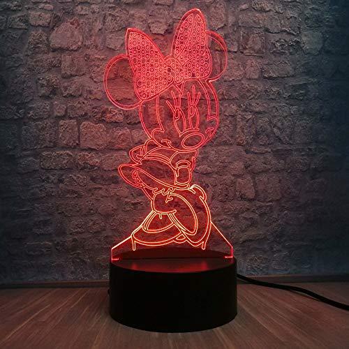 Luz nocturna Lámpara LED 3D Dormitorio Minnie Mickey Stitch Mesa Luz nocturna 7 Cambio de color Lámpara base Decoración del dormitorio del bebé Regalo para niños Envío directo