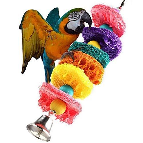 WPCASE Juguetes para Ninfas Juguete Agaporni Colgante Colorido Loofah Bird Masticar Juguetes Escalera De Escalada De Pájaros con Campana para Aliviar El Aburrimiento
