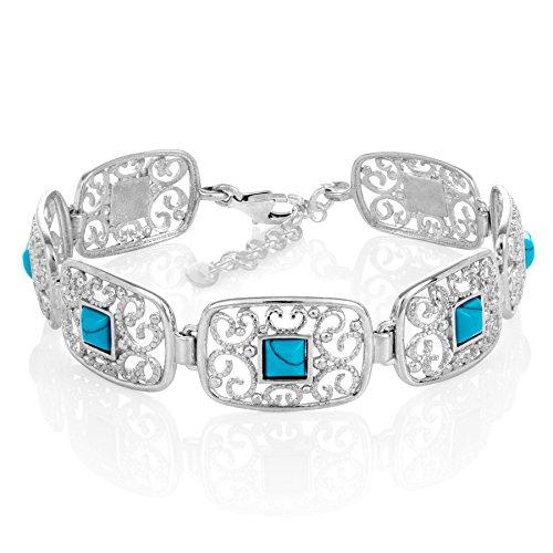 Lilly Marie dames armband zilver 925 turquoise steen hoge kwaliteit houten kast cadeau ideeën voor de