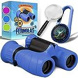 Fernglas für Kinder - Optimales Geschenk für kleine Jungen und Mädchen - Starke Vergrößerung 8X21 – Umfangreiches Set inklusive Lupe & Kompass – Spielzeug für 4 5 6 7 8 Jahre alte Jungen und Mädchen