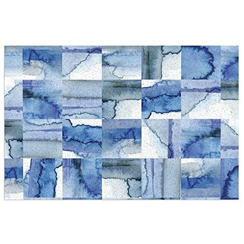 Felpudo de PVC con diseño de azulejos de color azul y blanco, con parte trasera antideslizante, impermeable, para cocina, baño, interior, 40 x 60 cm