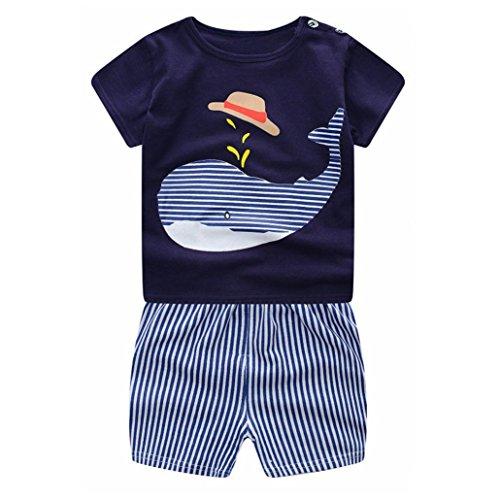 Covermason Niños Ropa Venta de liquidación Bebé Recién Nacido Bebés Niños Trajes Cartoon Whale Camiseta + Shorts 2 UNIDS Conjunto(12M, Azul)
