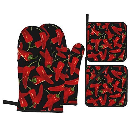 Ch-ili Pep-pe-rs Chi-li - Juego de 4 manoplas de horno y portavasos resistentes con guantes de poliéster antideslizantes para barbacoa, cocina, hornear, asar