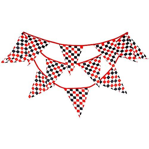 Tablero de carreras Banderines , accesorios de la casa de verano Photo Prop para jardín boda boda baby shower fiesta de cumpleaños decoración 11.8 pies-Rojo blanco