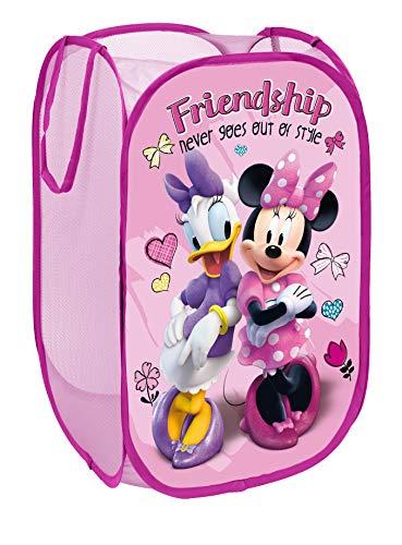 Superdiver Cesta plegable infantil de tela con asas para ropa sucia y juguetes, diseño Minnie Mouse y Daisy de Disney 36x36x58 centímetros color rosa