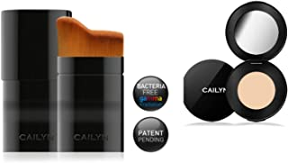 Bundle 2 Items: Cailyn HD Total Coverage Concealer Over Dark Circles Blemishes & Dark Spots +O Wow Curve Brush Ergonomically Velvety Soft Bristles (01- PARCHMENT)