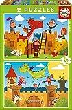Educa- Dragones y Caballeros 2 Puzzles, Multicolor, 48 Piezas (17151)