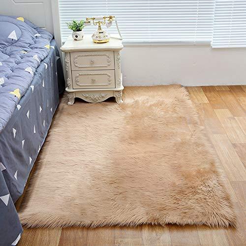 Tapijt in de woonkamer, de hele simulatie schapenvacht tapijt, kussens van de bank, vloermatten, slaapkamer, trappen, vuil, gemakkelijk te reinigen,Bean color,45 * 45cm