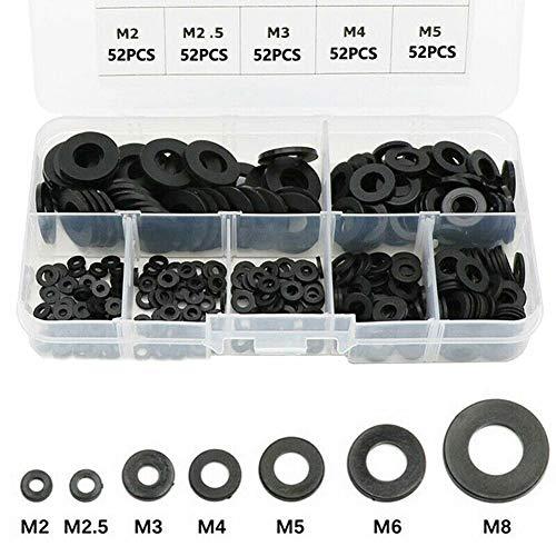 364 Stück Schwarz Nylon Flach Unterlegscheiben Dichtungen Kit,MoreChioce M2 M2,5 M3 M4 M5 M6 M8 Beilagscheiben Set Schrauben/Schrauben Neue Nylon Flachscheiben W