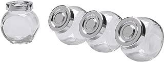 IKEA RAJTAN Spice jar, Glass, Aluminum Color 400.647.02, 1-Pack( 4-Count ), Clear