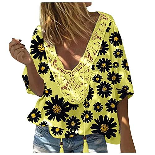 Amandaz Damen Sexy Chain Sling V-AusschnittTop Hollow T-Shirt Langes Summer Leisure ÄRmellose Spitze Elegant Loose Shirt Weste