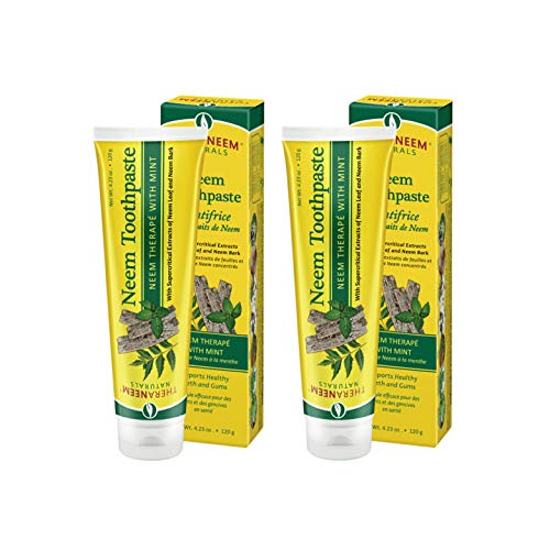 TheraNeem Neem Therape Toothpaste, Mint | Supports Healthy Teeth, Gums & a Fresh Mouth | Fluoride Free & Vegan | 4.23 oz, 2 Pack