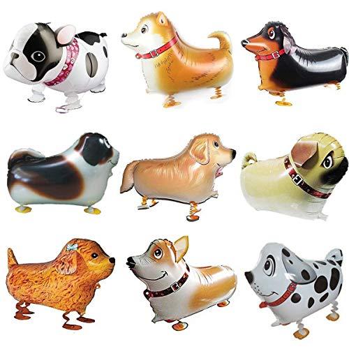 BESTZY 9 STK Walking Tier Folienballon Haustier Hund Ballons Air Walkers Helium Ballon Kit für Kinder Geburtstag Party Dekoration Spielzeug
