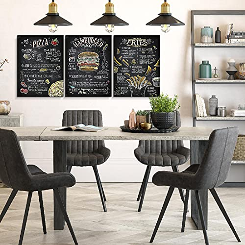 Classic Cuisine Poster Prints Pizza French Fries Hamburger for 20s Chalkboard Replica Printing Framed Wall Art for Kitchen Restaurant Dining Room Wall Decor Set of 3 Kitchen Canvas Artwork 12'x16'