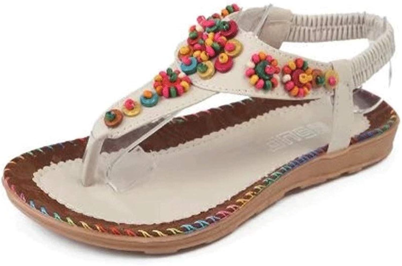 Women's Flat Sandals Summer Clip Toe Flip Flops Thongs Bohemian T-Strap Slingback Agate Beading Beach Dress shoes