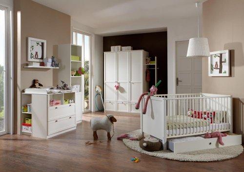 lifestyle4living Babyzimmer Komplett-Set in alpinweiß/weiß im Landhausstil, 6-TLG, umbaubar/mitwachsend, modernes Kinderzimmer für Jungen und Mädchen, zeitlos