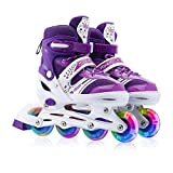 Adjustable Inline Skates, Safe and Durable Roller Skates for Girls with Breathable Mesh Skates- Featuring All Illuminating Wheels (Purple, Small)