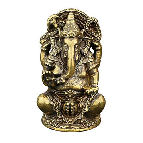 Healifty Estatua de Elefante hindú Ganesha de Metal Elefante Figura de Buda Dios del...