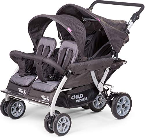Childwheels Kinderwagen Krippenwagen Quadro Viersitzer - neu mit Autobrake und Schutzhülle