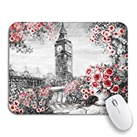 ROSECNY 可愛いマウスパッド ロンドンの油絵夏穏やかな都市風景花滑り止めゴムバッキングノートブックコンピューターマウスマット