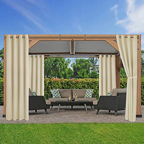 LORDTEX Waterproof Indoor/Outdoor Curtains for Patio - Thermal Insulated, Sun Blocking Blackout Curtains for Bedroom, Porch, Living Room, Pergola, Cabana, 52 x 84 inch, Cream, Set of 2 Panels