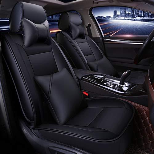 YSH 5 Sièges en Cuir PU Couvre-sièges De Voiture Universel Auto-Couvre Coussin De Siège De Voiture pour Toutes Les Voitures Accessoires Intérieurs,BlackB