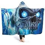 Befectar Soft Psychedelic Skull Head Music Hoodie Blanket Adult Men Women Thicken Wearable Hooded Animal Blankets Soft Cozy Fleece Blanket