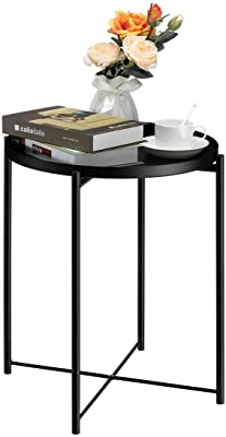 """HollyHOME Tray Metal End Table, Sofa Table Small Round Side Tables, Anti-Rust and Waterproof Outdoor & Indoor Snack Table, Accent Coffee Table,(H) 20.28"""" x(D) 16.38"""", Frosted Black"""