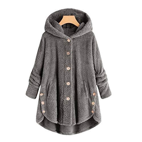 YANFANG Abrigo para Mujer Chaqueta Abrigo cálido Caliente y Esponjoso Flannel Tipo Manta Talla Grande de Invierno con Bolsillo con Capucha de Felpa (Gray3, XXXXL)