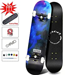 """【EASY TO RIDE】 31 """" Complete Skateboard, with PU wheels make you safe when you ride and 8""""wide non-slip dull polish wooden deck can not only provide more stability and safety for users but also hold both foot on it . Hold weight up to 220lbs, can use..."""