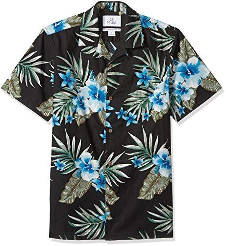 Marca Amazon - 28 Palms – Camiseta para hombre (100 % algodón, corte estándar), diseño hawaiano tropical, Negro (Black/Blue Hibiscus Floral), 4XL