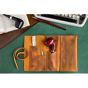 Leder Handgefertigte Pfeifentasche, Tabak Rollup Tasche, Pocketsize Rohr Tasche, Kamel