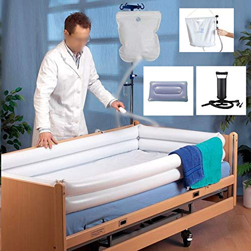 Inflatable Shower Bathtub System - Medical Bath Basin Kit for Disabled Elderly Bedridden Pregnancy, Adult in Bed Assistive Aid with with Water Bag