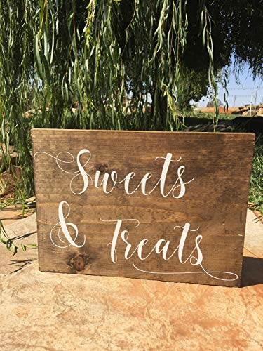 43LenaJon Sweets & Treats Cartel de mesa de postre, letrero de madera de bienvenida rústico, decoración de carteles de madera para boda fiesta cumpleaños etiqueta personalizada
