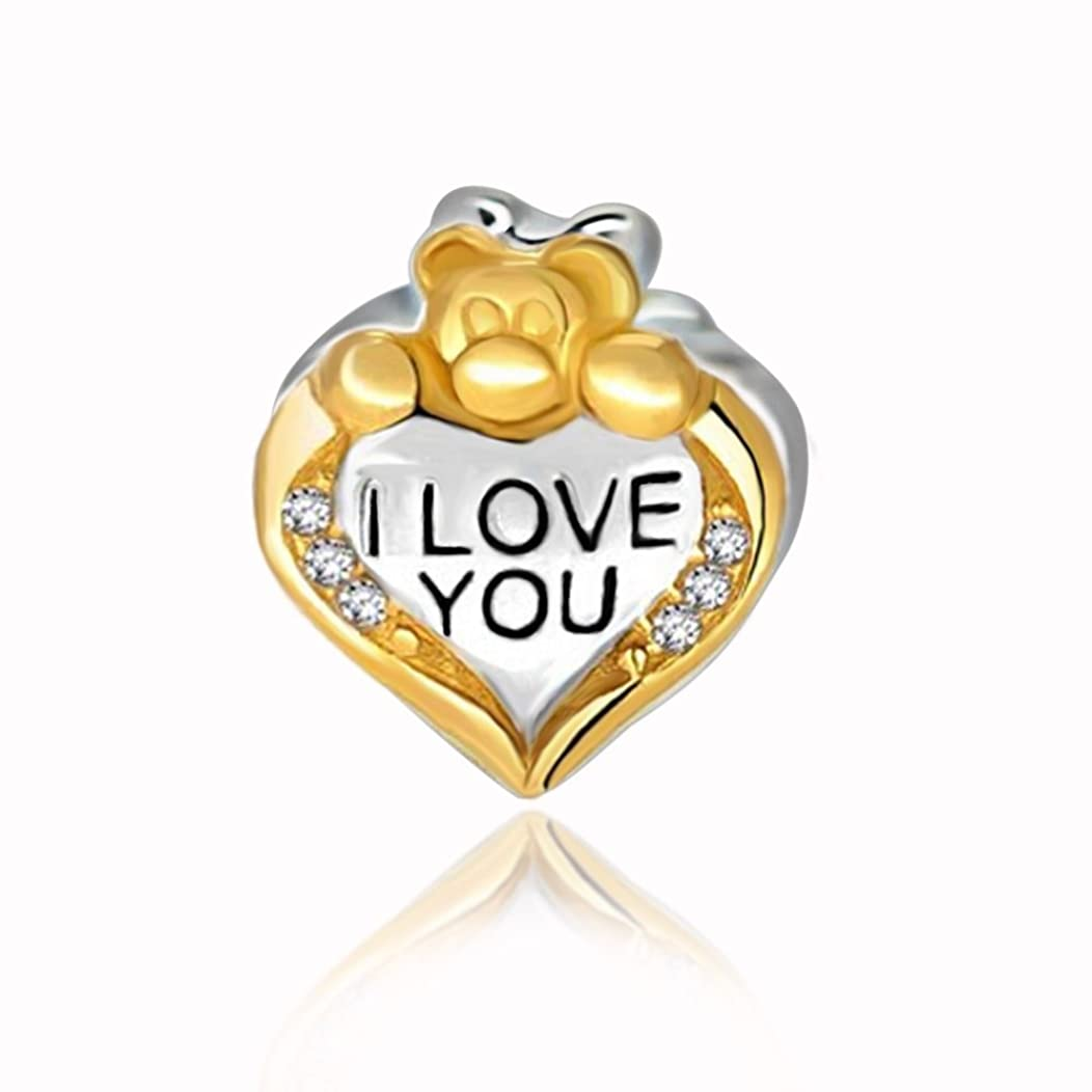 The Kiss All About beloved Hearts I Love You 925 Sterling Silver Bead Fits European Charm Bracelet