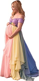 Formaldresses Rainbow Maternity Evening Dress High Waist for Pregnant Women Plus Size Lace up Back