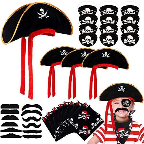 Tacobear 36Stk. Piraten Zubehör Set Piratenhut Pirat Augenklappe Pirat Koptuch Schnurrbart Selbstklebend für Kinder Jungen Piraten Kindergeburtstag Mitgebsel (Schwarz)
