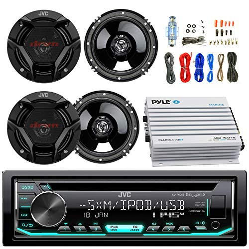 "JVC KDR690S Car CD Player Receiver USB AUX Radio - Bundle Combo with 4X JVC CSDR620 6.5"" Inch 300-Watt 2-Way Black Audio Coaxial Speakers + + 4-Channel Amplifier + Amp Kit"